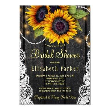 Gold sunflowers lace and barn wood bridal shower Invitations
