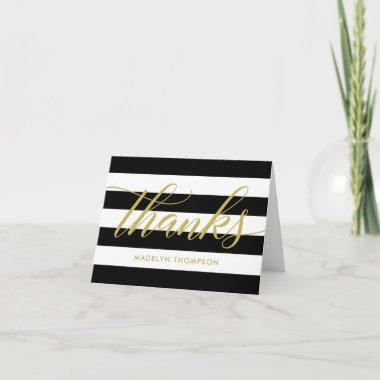 Gold Thank You Notes | Black and White Stripes