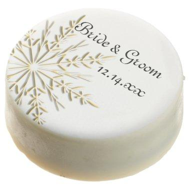 Gold Tone Snowflake on White Winter Wedding Favor