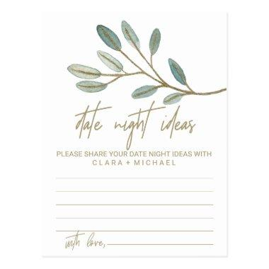 Gold Veined Eucalyptus Date Night Idea Invitations