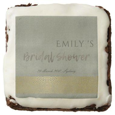 GOLD VELVET GREY MOSAIC DOTS BRIDAL SHOWER CHOCOLATE BROWNIE