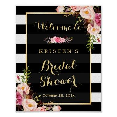 Gold Vintage Floral Stripes  Sign