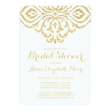 Gold Vintage Glam Elegant Bridal Shower Invitations