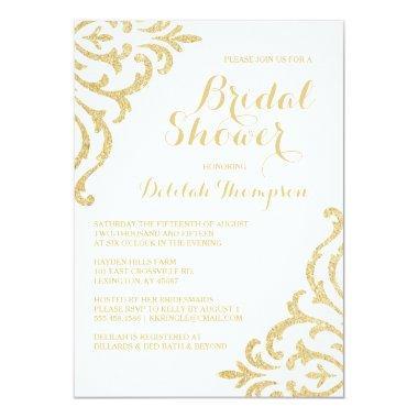 Gold Vintage Glam Elegant Bridal Shower Invitations