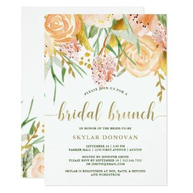Gold Watercolor Floral on White   Bridal Brunch