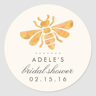 Golden Bee Watercolor  Classic Round Sticker