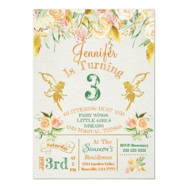 Golden Fairy Floral Birthday Invitations