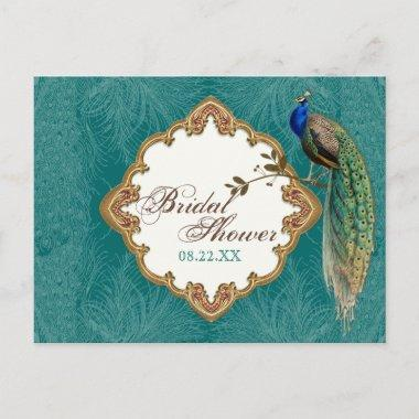 Golden Peacock & Swirls - Save the Date Post