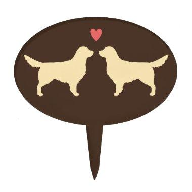 Golden Retriever Silhouettes with Heart Cake Topper