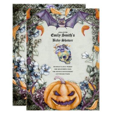 Goth Halloween Baby Shower Purple Orange Skulls Invitations