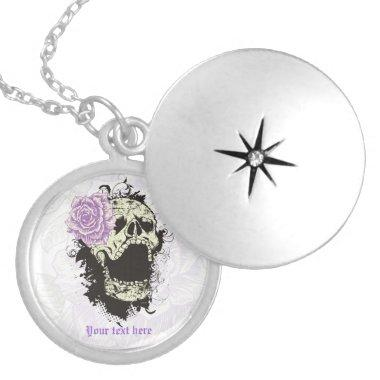 Goth skull with vintage purple rose necklace