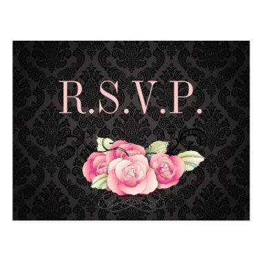 Gothic Black damask pink rose  Post