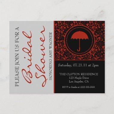 Gothic Black & Red Flourish Bridal Shower Invitation PostInvitations