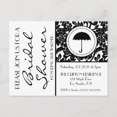 Gothic Black & White Flourish Bridal Shower Invite