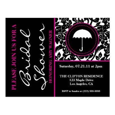Gothic Black & White/Pink Flourish Bridal Shower PostInvitations