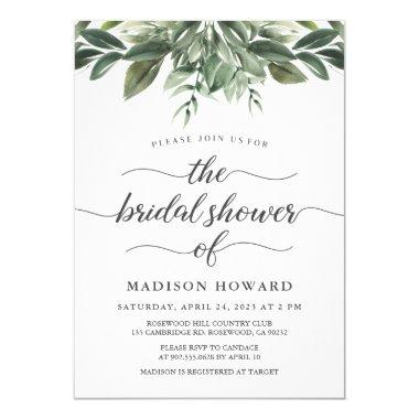 Graceful Greenery Bridal Shower Invitations