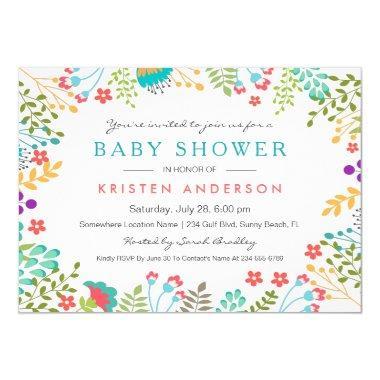 Graceful Tiffany Blue Floral Cute Baby Shower