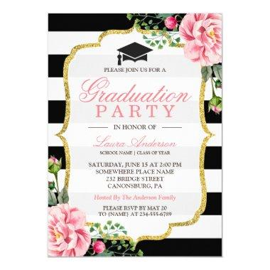 Graduation Party Floral Gold DIY Stripes Color