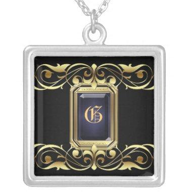 Grand Duchess Black Jewel Gold Scroll Necklace