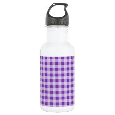 Grape Purple Gingham; Checkered Water Bottle
