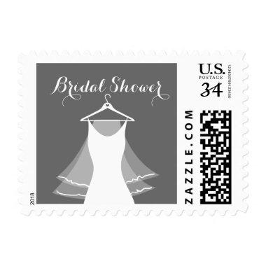 Gray and white wedding dress bridalshower stamps