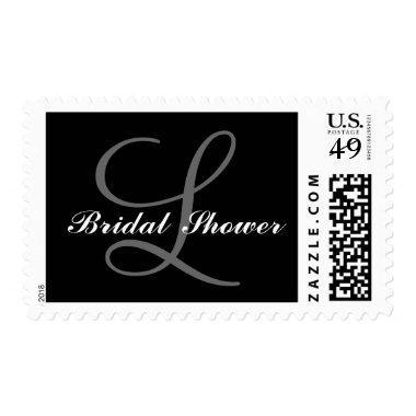 Gray, Black Bridal Shower Monogram Postage