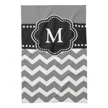 Gray Black Chevron Monogram Towel