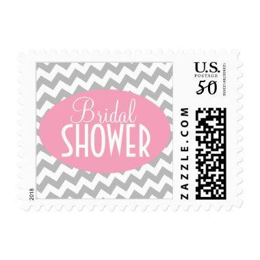 Gray Chevron and Pink  Postage Stamps