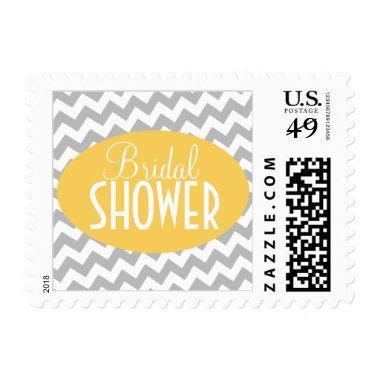 Gray Chevron & Yellow  Postage Stamps