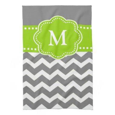 Gray Green Chevron Monogram Towel