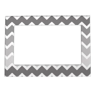Gray Grey Ombre Chevron Magnetic Photo Frame