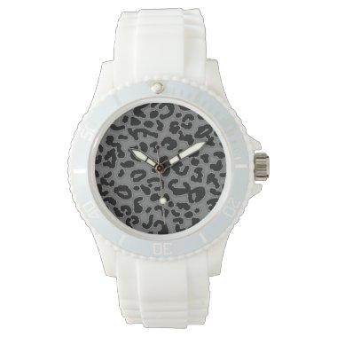 Gray Leopard Animal Print Watches