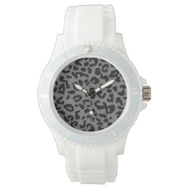 Gray Leopard Animal Print Wrist Watch