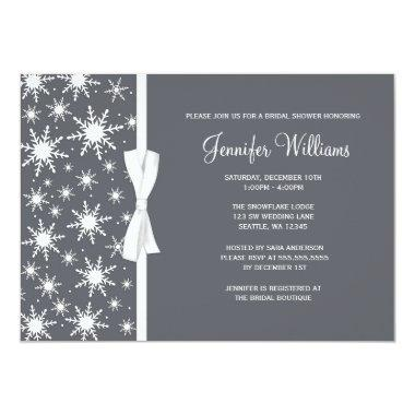 Gray Snowflakes White Bow Winter Bridal Shower Invitations