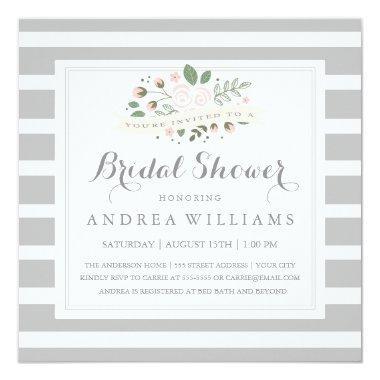 Gray Stripe and Floral  Invite
