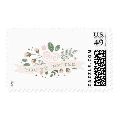Gray Stripe and Floral  Stamp