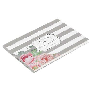 Gray Stripe & Antique Peony  Guest Book