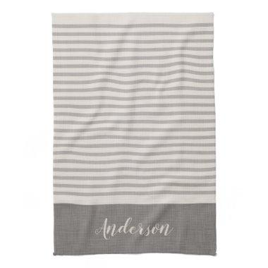 Gray Turkish Stripes Monogram | Farmhouse Towel