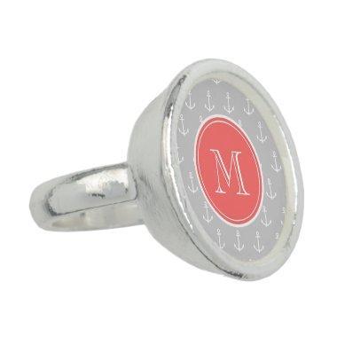 Gray White Anchors Pattern, Coral Monogram Ring