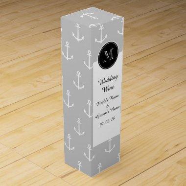 Gray White Anchors Pattern, Hot Pink Monogram Wine Gift Box