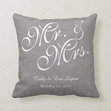 Gray White Linen Mr. and Mrs. Wedding Pillow