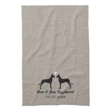Great Dane Silhouettes with Heart Newlyweds Couple Hand Towel