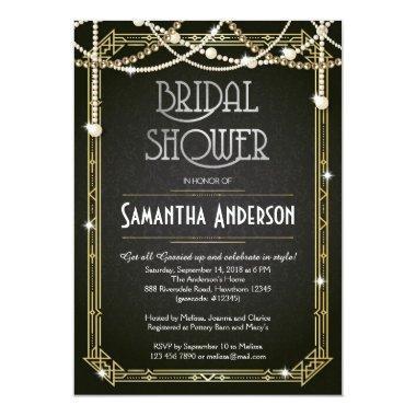 Great Gatsby Bridal Shower Invitations / Art Deco