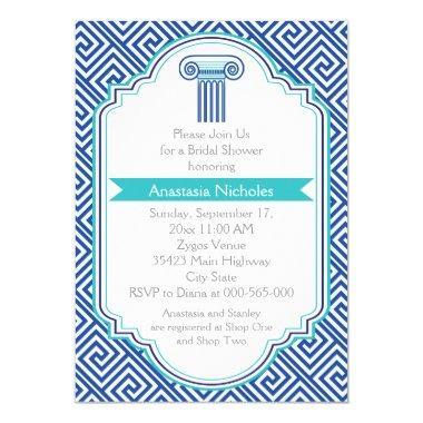 Greek key & blue column wedding