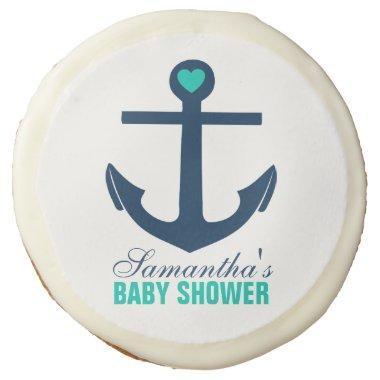 Green Anchor Nautical Baby Shower Sugar Cookie