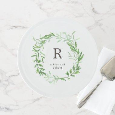 Green Botanical Leaves Wreath and Monogram Cake Stand