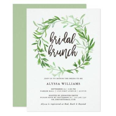 Green Botanical Leaves Wreath Bridal Brunch