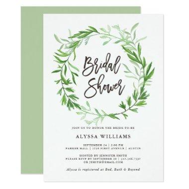 Green Botanical Leaves Wreath Bridal Shower Invitations
