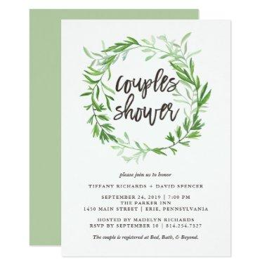 Green Botanical Leaves Wreath Couples Shower
