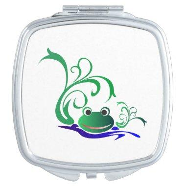 Green Cartoon Smiling Frog Face over water Compact Mirror